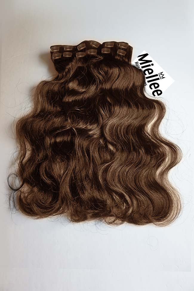 Chestnut Brown Full Head Clip Ins | Beach Wave Remy Human Hair