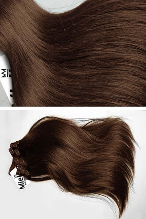 Chestnut Brown Clip Ins - Silky Straight - Remy Human Hair