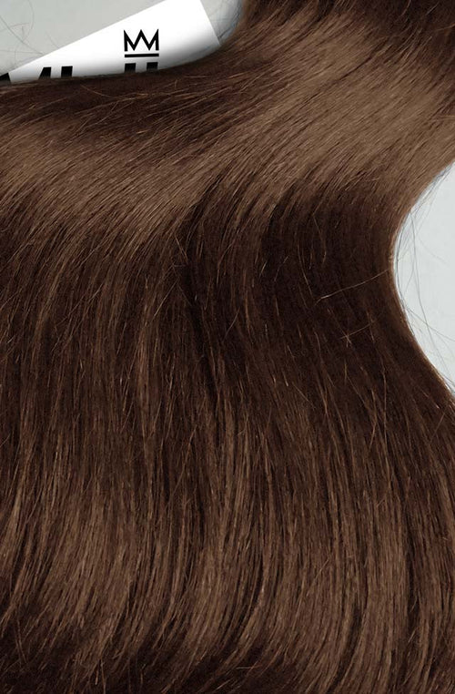Chestnut Brown Seamless Tape Ins - Wavy Hair