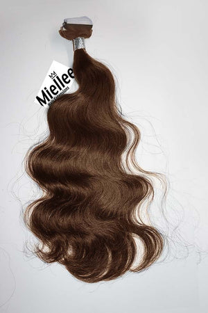 Chestnut Brown Tape Ins - Beach Wave - Remy Human Hair