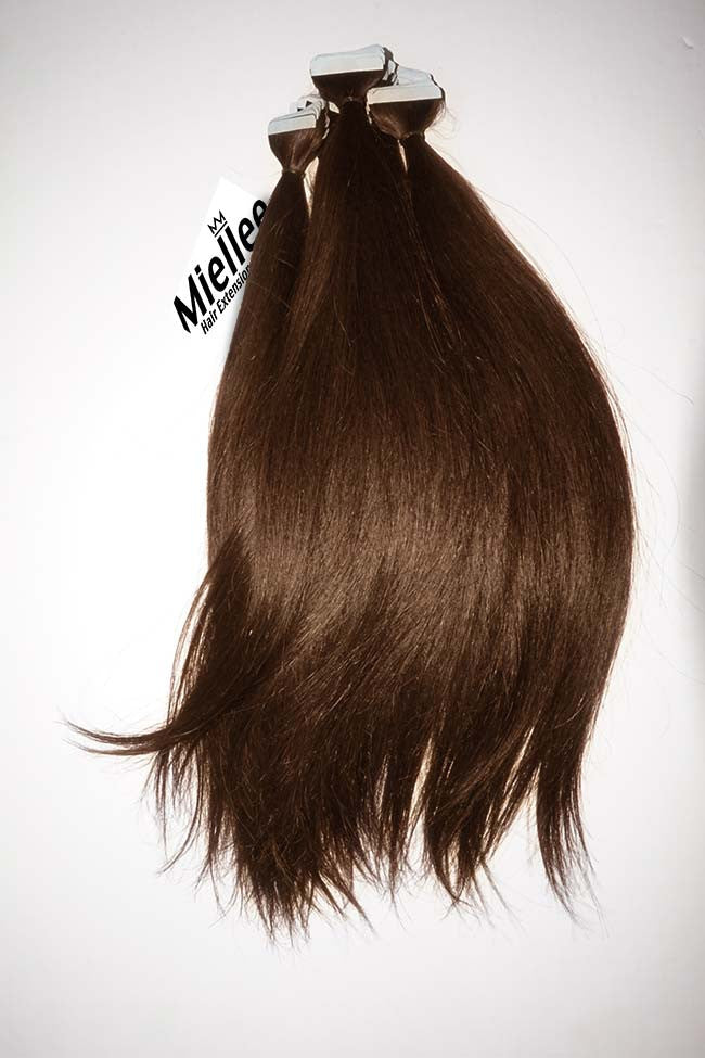 Chestnut Brown Tape Ins - Silky Straight - Remy Human Hair