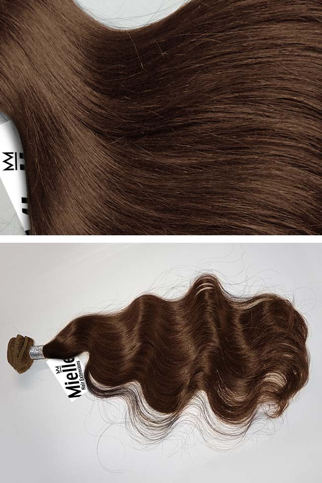 Chestnut Brown Weave Extensions | Beach Wave Remy Human Hair