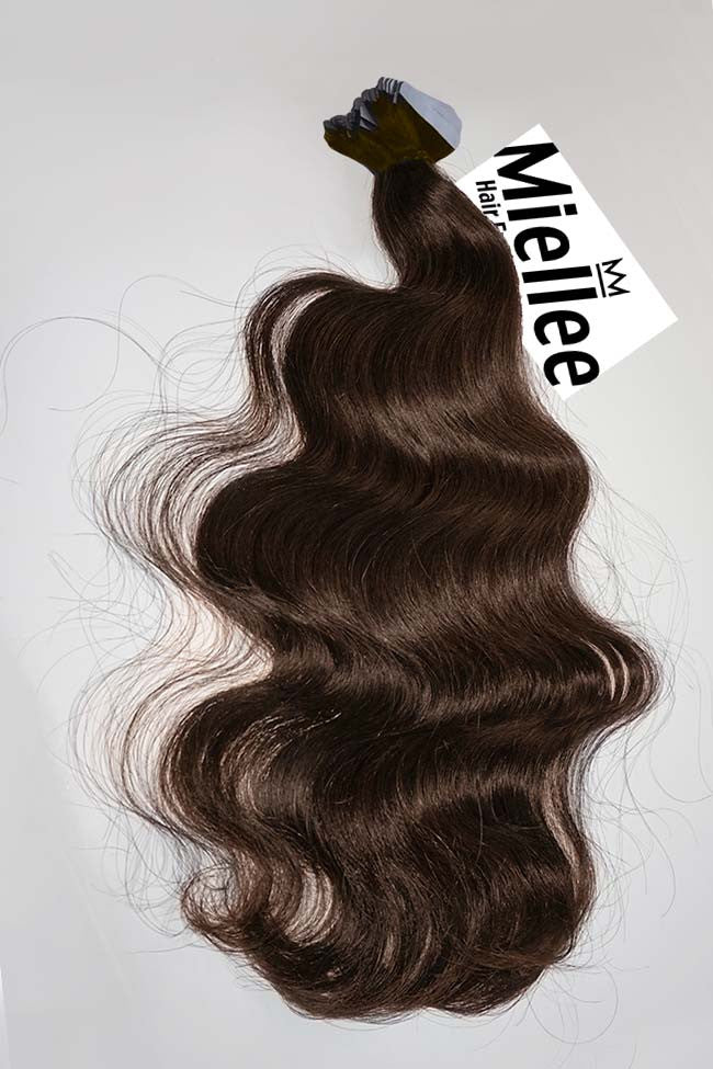Chocolate Brown Tape Ins - Beach Wave - Remy Human Hair