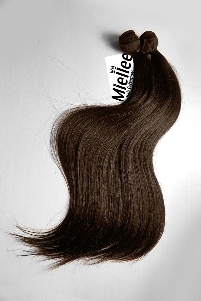 Chocolate Brown Machine Tied Wefts - Straight Hair