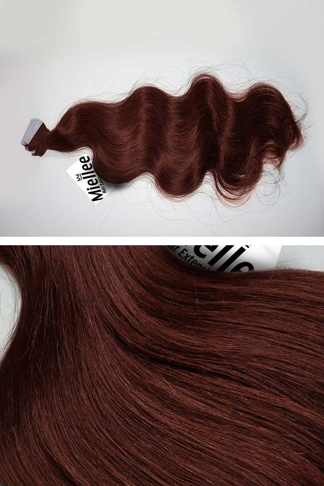 Cinnamon Red Seamless Tape Ins | Beach Wave Remy Human Hair