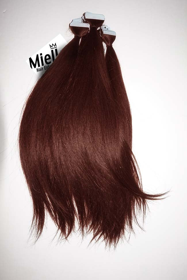 Dark Cinnamon Red Tape In Extensions Silky Straight Remy Human