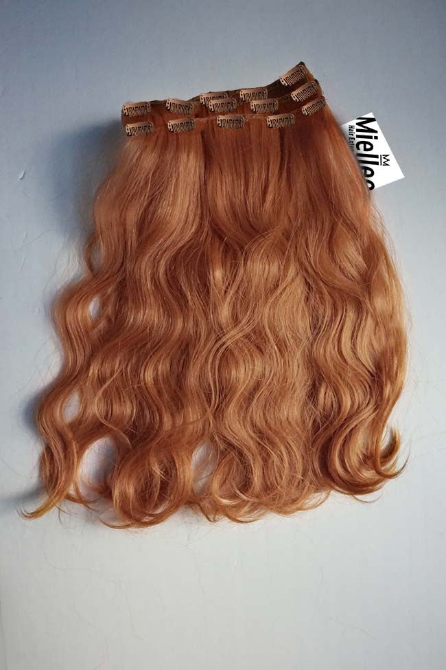 Peachy Red Full Head Clip Ins | Beach Wave Remy Human Hair