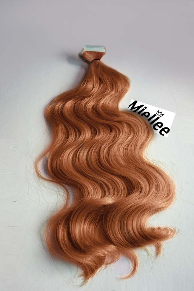 Peachy Red Tape Ins - Beach Wave - Remy Human Hair