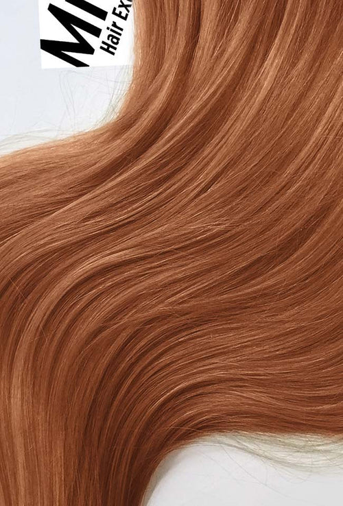 Peachy Red Machine Tied Wefts - Wavy Hair