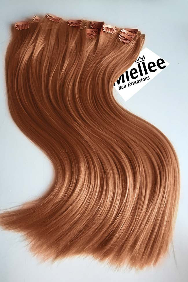 Peachy Red Clip Ins - Silky Straight - Remy Human Hair