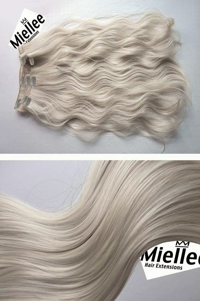 Cream Blonde Full Head Clip Ins | Beach Wave Remy Human Hair