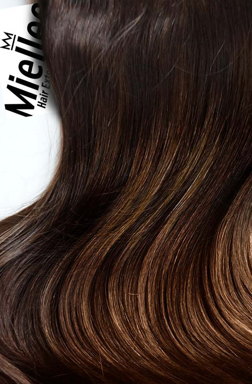Dark Golden Brown Balayage Wefts - Straight Hair