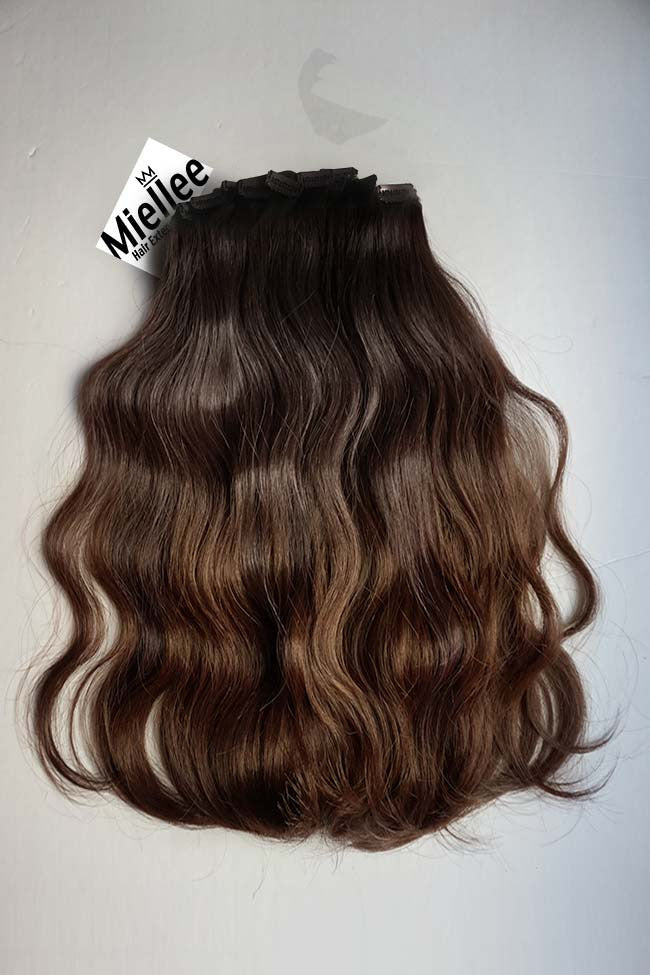 Dark Golden Brown Balayage Full Head Clip Ins | Beach Wave Remy Human Hair