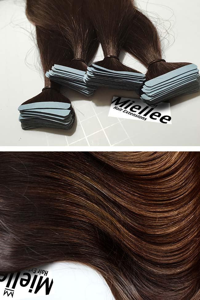 Dark Golden Brown Seamless Tape Ins | Silky Straight Remy Human Hair