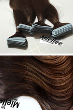 Dark Golden Brown Balayage Seamless Tape Ins - Straight Hair