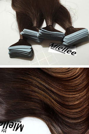 Dark Golden Brown Balayage Tape Ins - Beach Wave - Remy Human Hair