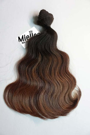 Dark Golden Brown Balayage Wefts - Wavy Hair
