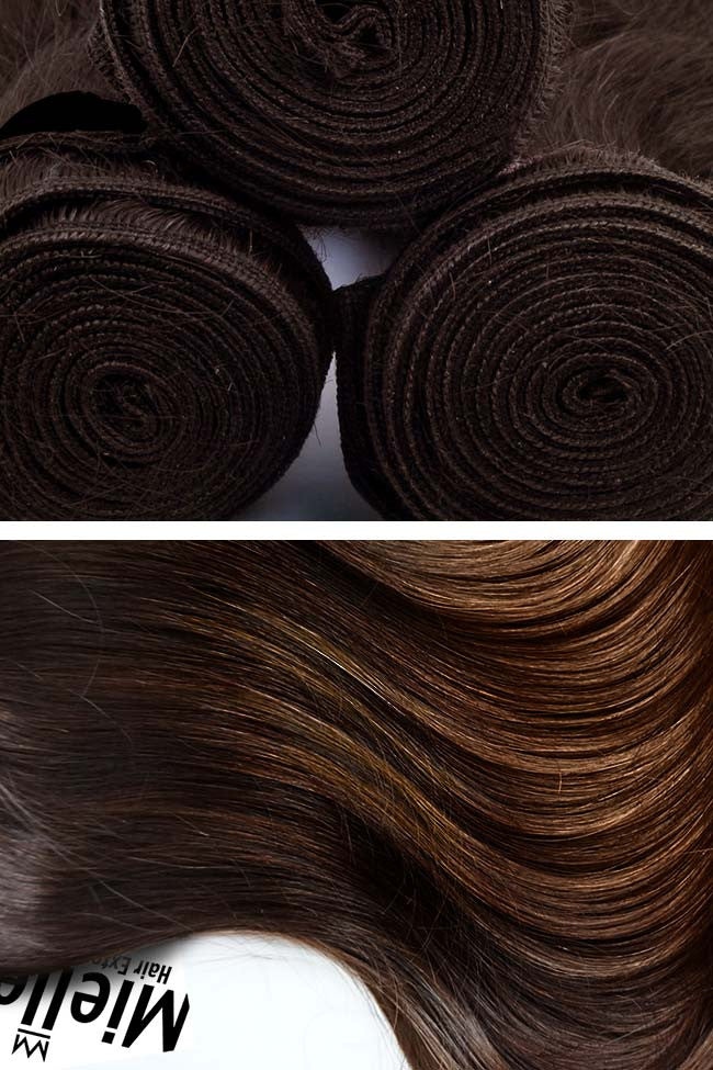 Dark Golden Brown Balayage Weave Extensions | Silky Straight Remy Human Hair