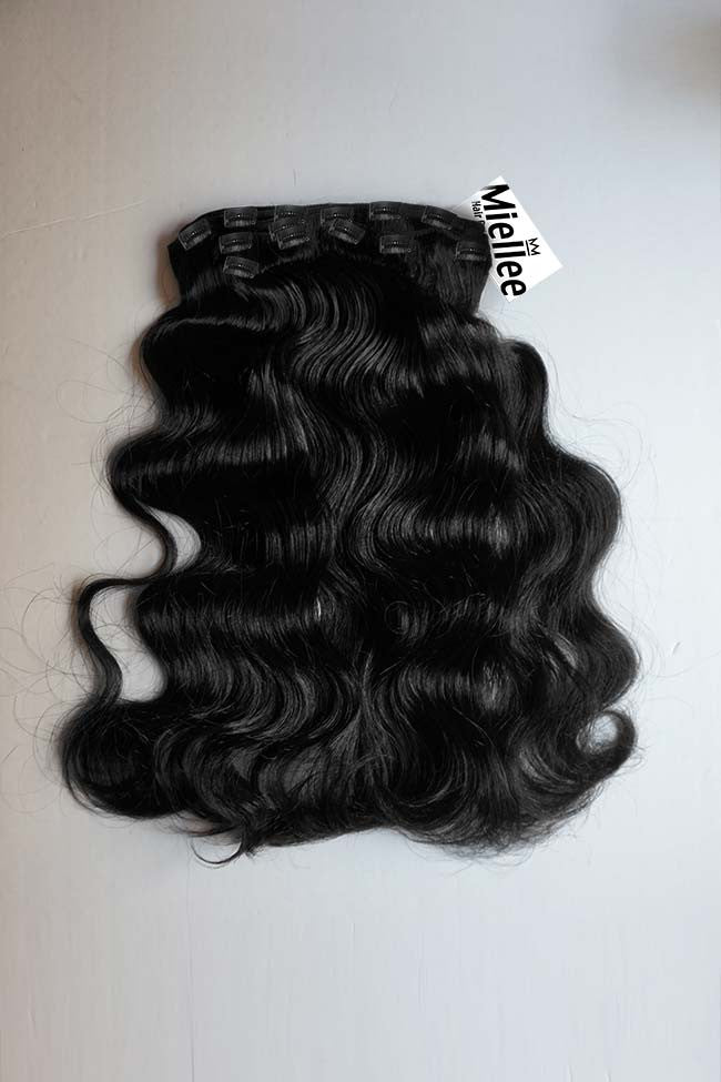 Espresso Black Full Head Clip Ins | Beach Wave Remy Human Hair
