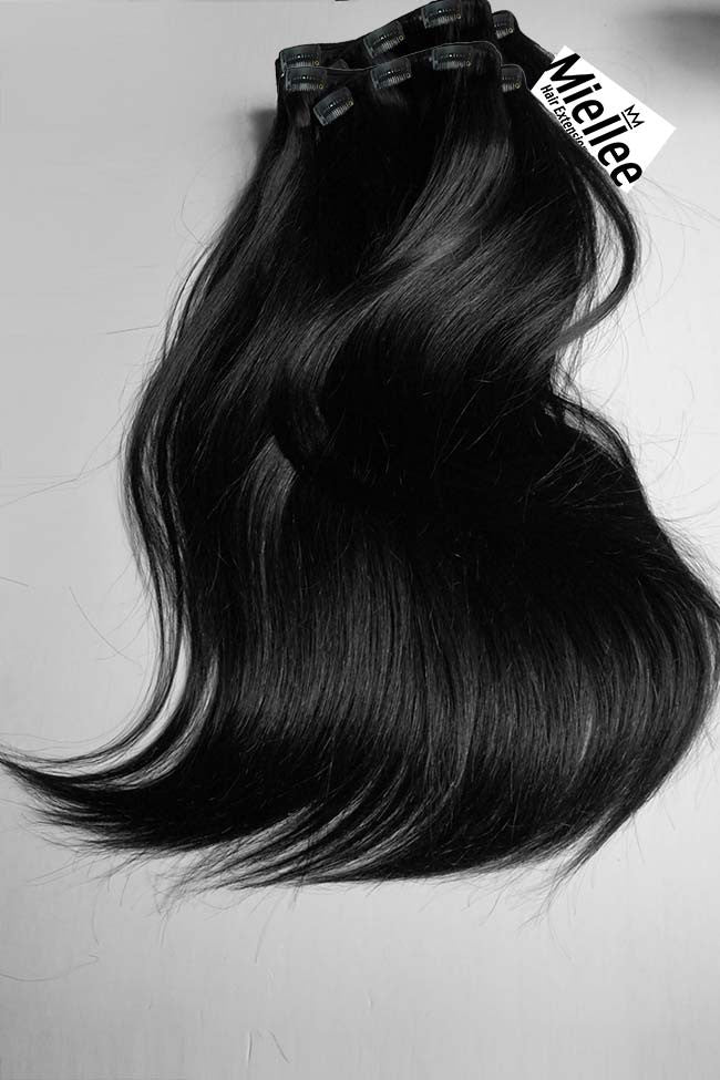 Espresso Black Clip Ins - Silky Straight - Remy Human Hair