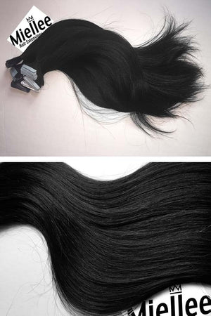 Espresso Black Tape Ins - Silky Straight - Remy Human Hair