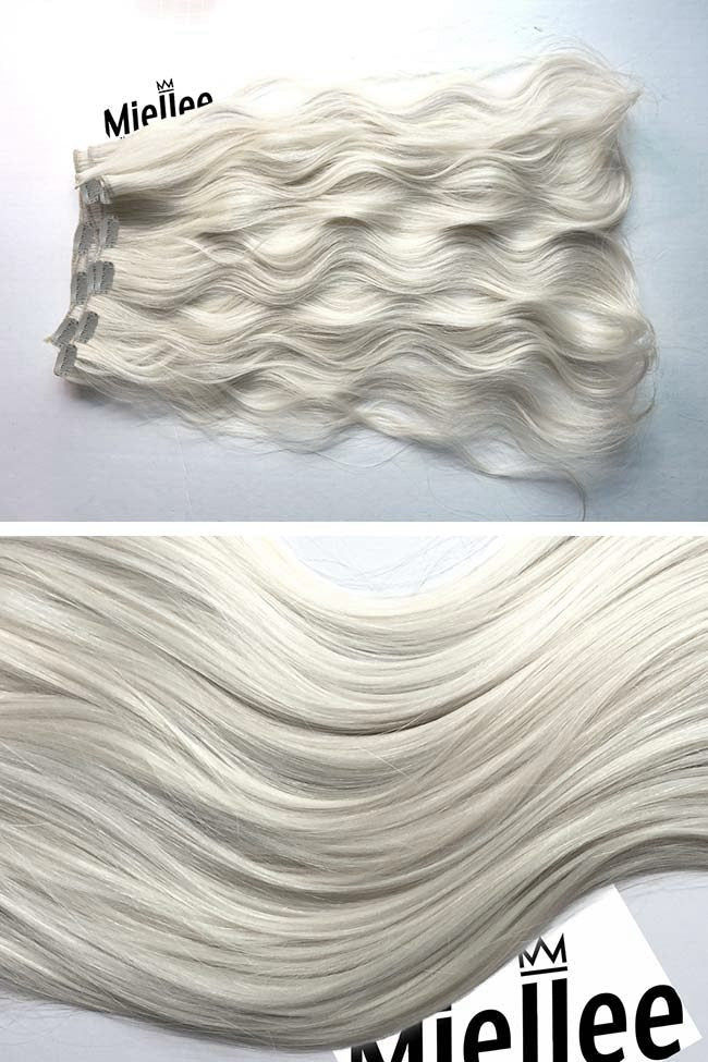Frosty Blonde 8 Piece Clip Ins - Wavy Hair