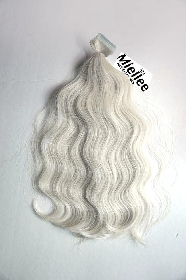 Frosty Blonde Tape Ins - Beach Wave - Remy Human Hair