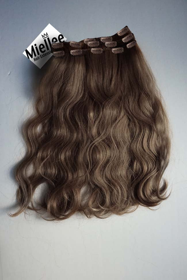 Hazelnut Brown Clip Ins - Beach Wave - Remy Human Hair