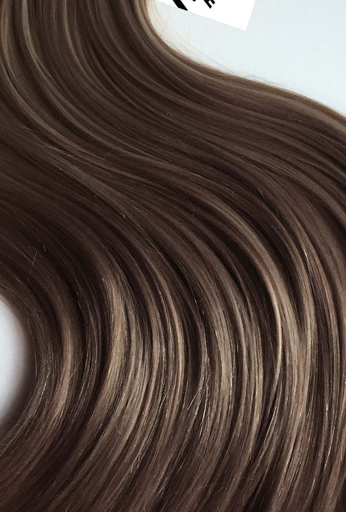 Hazelnut Brown Machine Tied Wefts - Wavy Hair