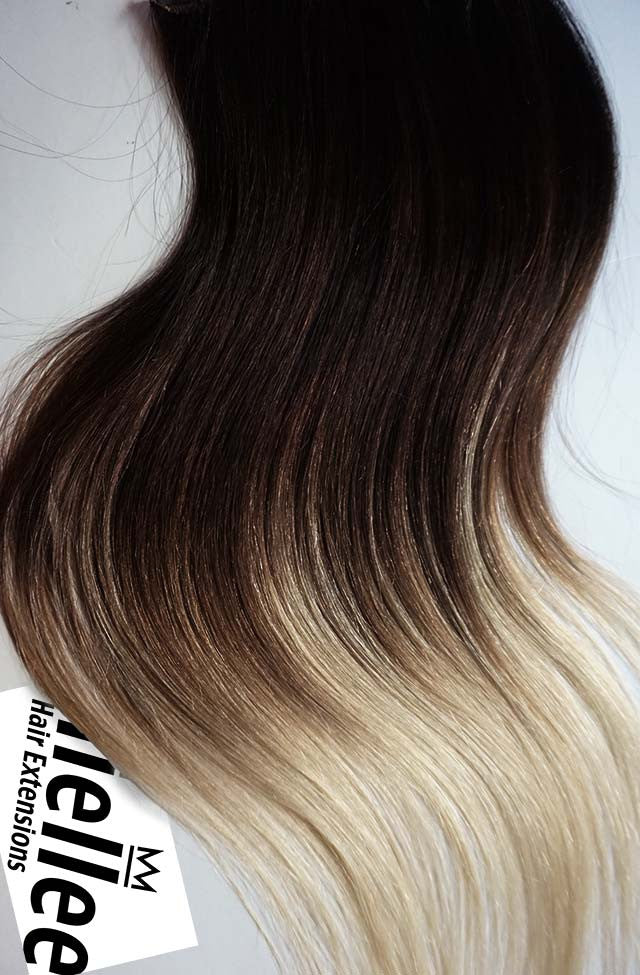 High Contrast Neutral Ombre Full Head Clip Ins | Beach Wave Remy Human Hair