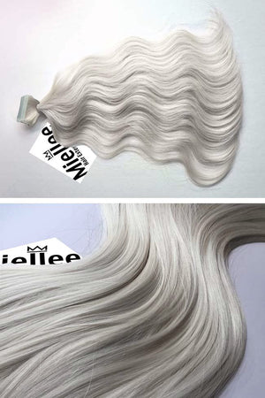 Icy Blonde Tape Ins - Beach Wave - Remy Human Hair