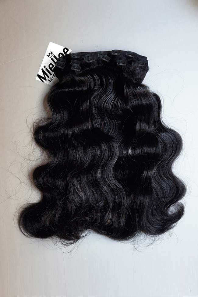 Licorice Black Clip Ins - Beach Wave - Remy Human Hair