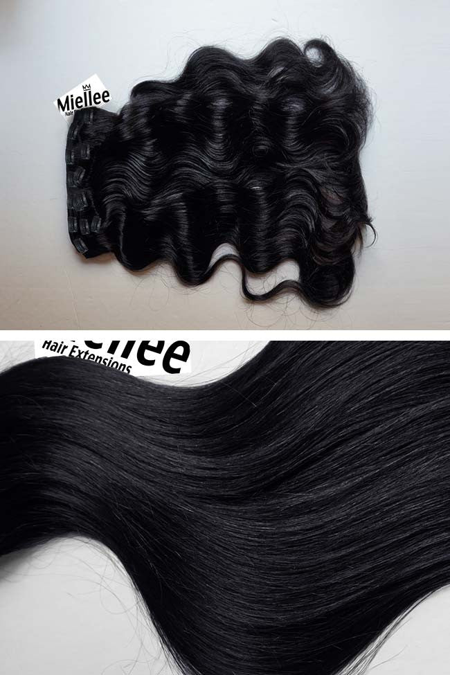 Licorice Jet Black Full Head Clip Ins | Beach Wave Remy Human Hair