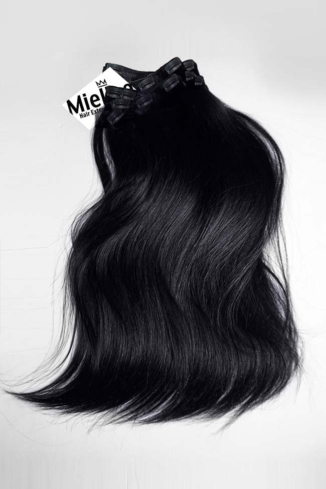 Licorice Jet Black Full Head Clip Ins | Silky Straight Remy Human Hair
