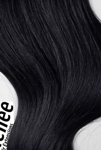 Licorice Jet Black Seamless Tape Ins | Beach Wave Remy Human Hair