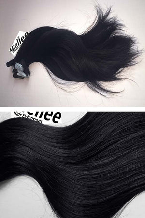 Licorice Black Tape Ins - Silky Straight - Remy Human Hair