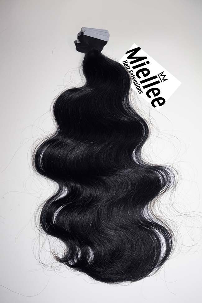 Licorice Black Tape Ins - Beach Wave - Remy Human Hair