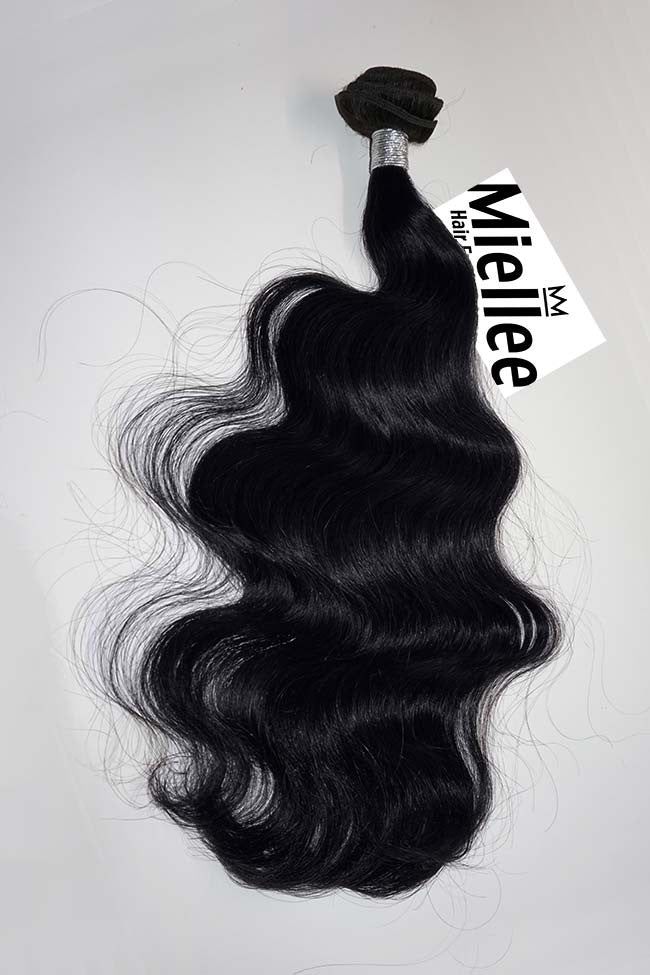 Licorice Black Machine Tied Wefts - Wavy Hair