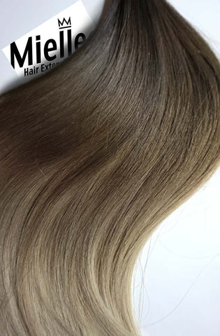 Light Ash Brown Balayage Full Head Clip Ins | Beach Wave Remy Human Hair