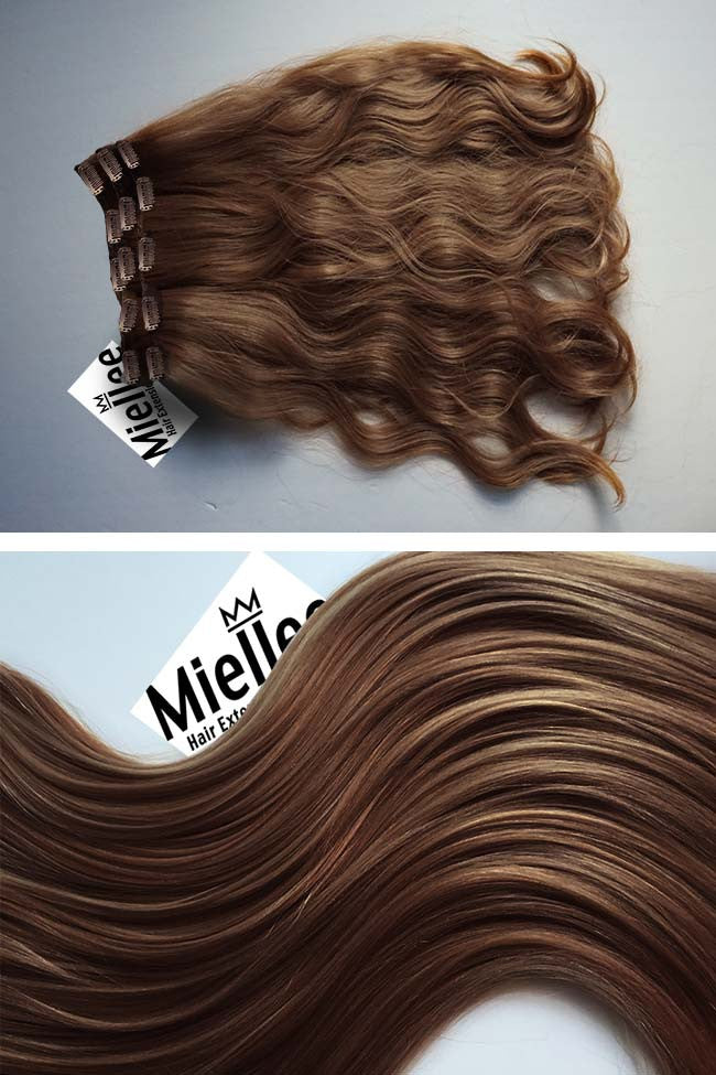 Maple Brown Full Head Clip Ins | Beach Wave Remy Human Hair
