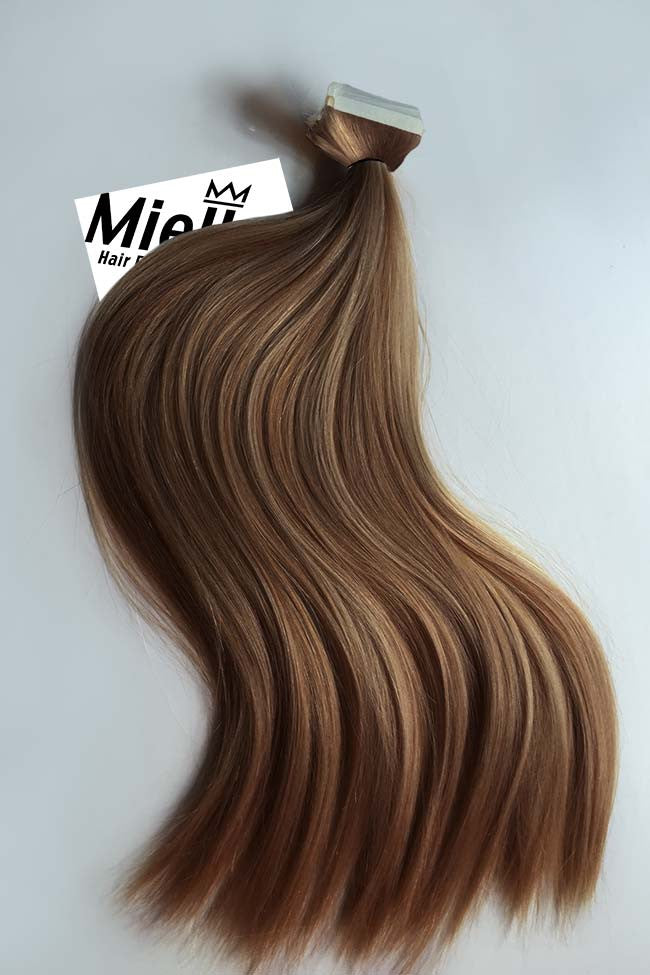 Maple Brown Tape Ins - Silky Straight - Remy Human Hair