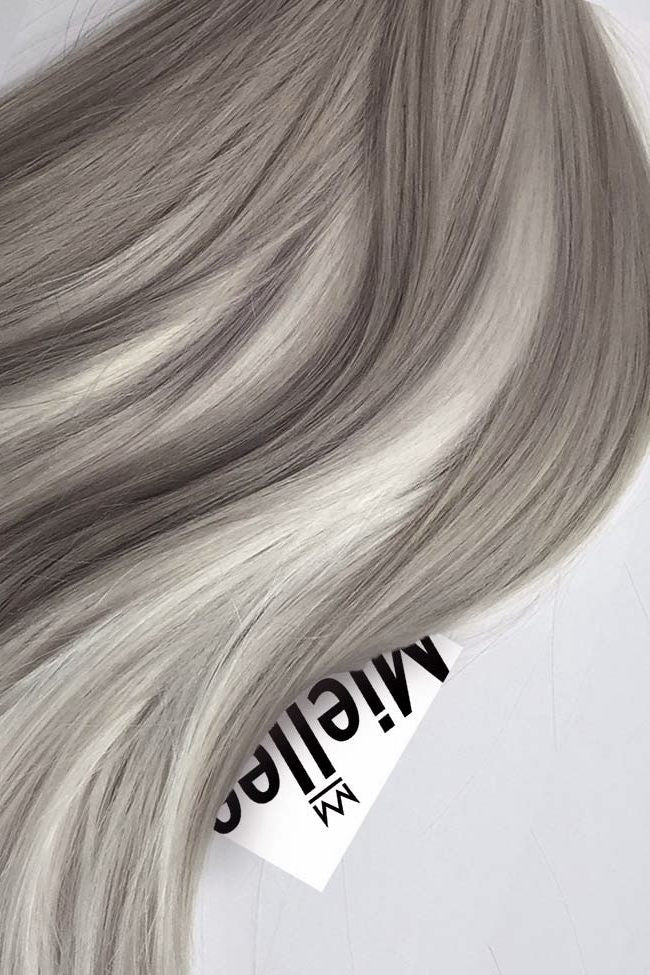 Medium Ash Blonde Balayage Full Head Clip Ins Silky Straight Remy Human Hair