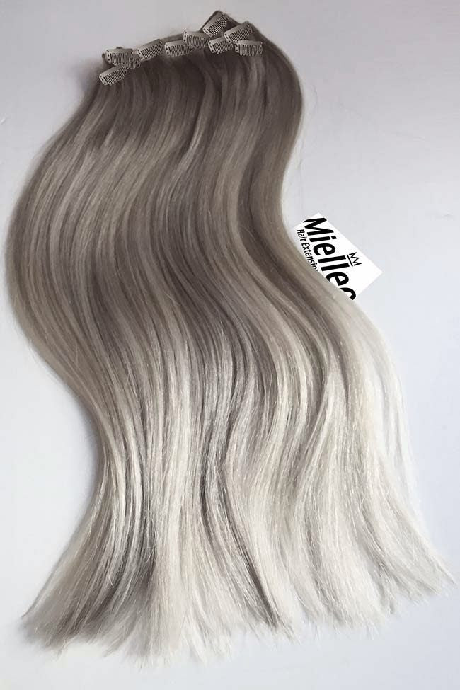 Medium Ash Blonde Balayage Full Head Clip Ins | Silky Straight Remy Human Hair