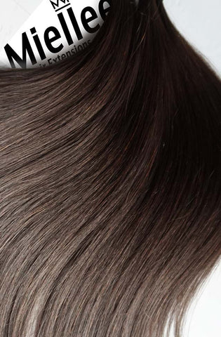 Medium Ash Brown Balayage Seamless Tape Ins | Silky Straight Remy Human Hair