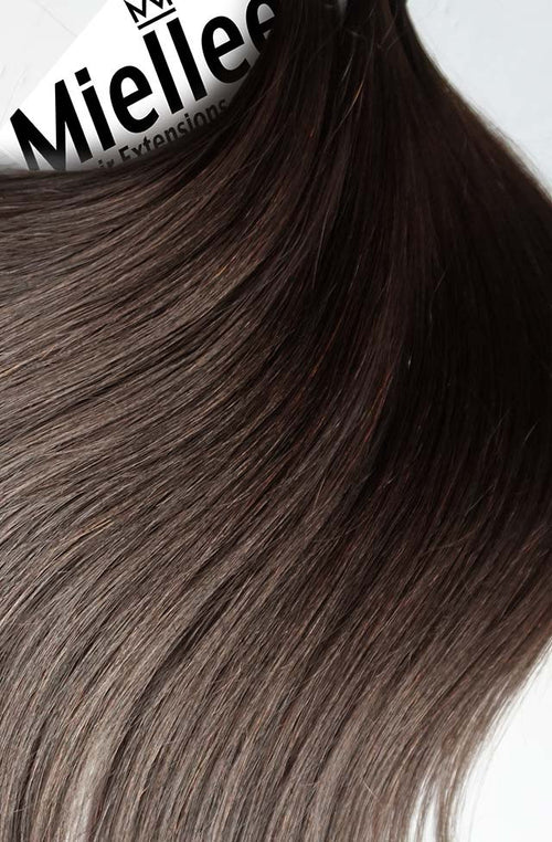 Medium Ashy Brown Balayage Machine Tied Wefts - Wavy Hair