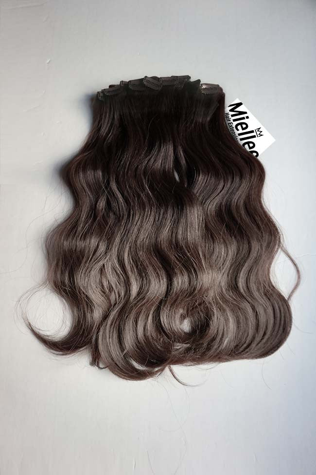 Medium Ash Brown Balayage Clip In Extensions Beach Wave Remy Human