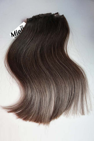 Medium Ash Brown Balayage Clip Ins - Silky Straight - Remy Human Hair