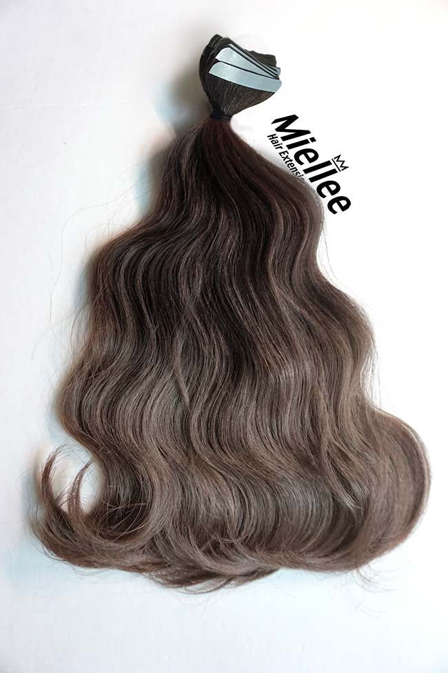 Medium Ash Brown Balayage Tape Ins - Beach Wave - Remy Human Hair