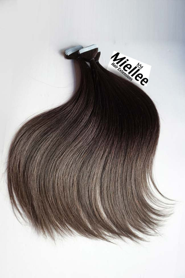 medium ash brown balayage silky straight remy human hair