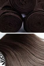 Medium Ashy Brown Balayage Machine Tied Wefts - Straight Hair
